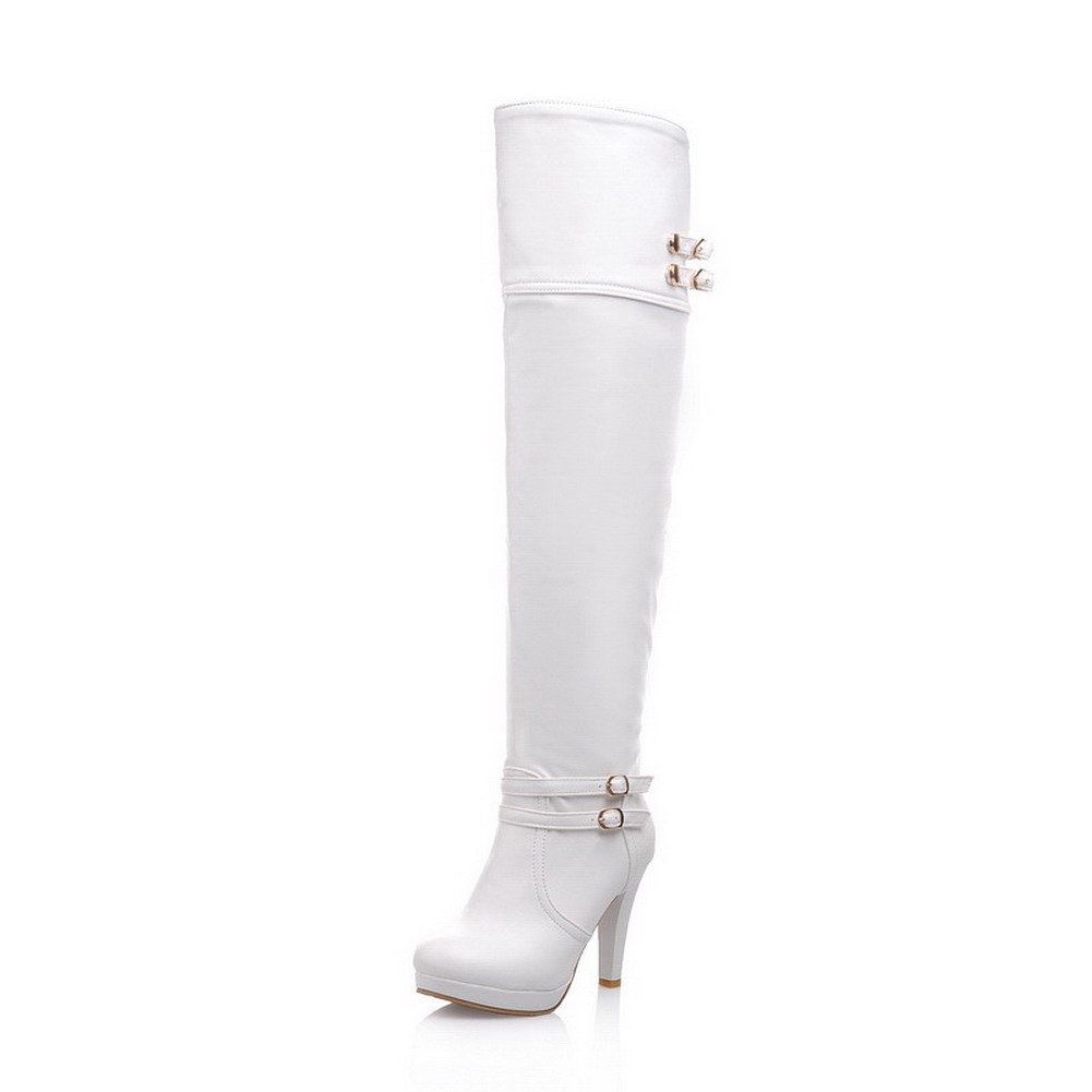 BalaMasa Womens High Heels Above The Knee Solid White PU Thigh Boots - 6.5 B(M) US