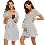 Ekouaer Maternity Hospital Gown for Breastfeeding Casual Nursing Nightgowns for Hospital(Grey,Medium)