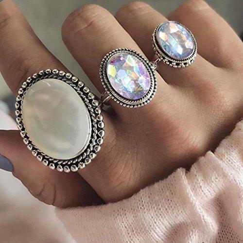 hunpta 3Pcs Rings Set Natural Gemstone Fire Opal Diamond Ring Wedding...