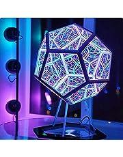Oändliga Dodekaeder färgade konstlampor, USB-uppladdningsbara dekorativa lampor, kreativa möbeldekorationer, bordslampor, festatmosfärslampor (med transparent hållare)