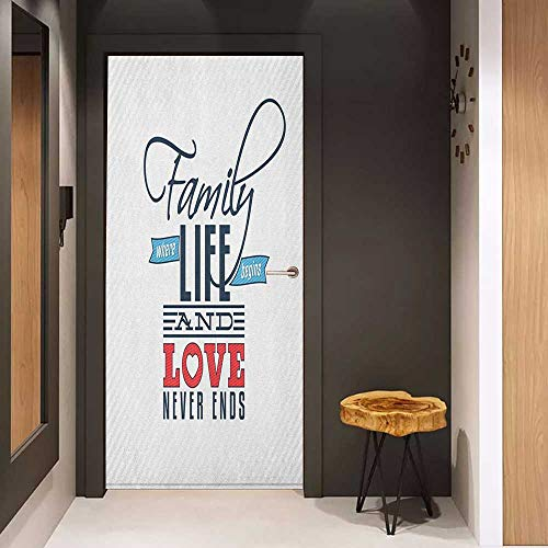 - Onefzc Door Wallpaper Murals Family Vintage Greeting Card Inspired Design with a Quote About Family and Love WallStickers W30 x H80 Black Pale Blue Red