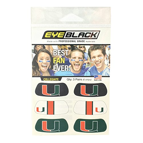 EyeBlack Miami Hurricanes Eye Black Anti Glare Stickers, Great for Fans and Athletes on Game Day, 3 Pair ()
