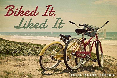 Jekyll Island, Georgia - Biked It, Liked It - Bicycles and Beach Scene (12x18 Art Print, Wall Decor Travel Poster)