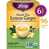 Yogi Tea - Green Tea Lemon Ginger - Supports Vitality and Digestion - 6 Pack, 96 Tea Bags Total
