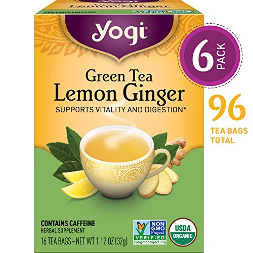 Yogi Tea - Green Tea Lemon Ginger - Supports Vitality and Digestion - 6 Pack, 96 Tea Bags Total (Green Tea Ginger)