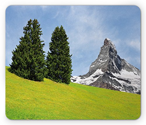Mountain Mouse Pad by Ambesonne, View of Mountain Matterhorn in a Peaceful Summer Day with Sun Rays Meadow Print, Standard Size Rectangle Non-Slip Rubber Mousepad, Green - Day Ray Prints