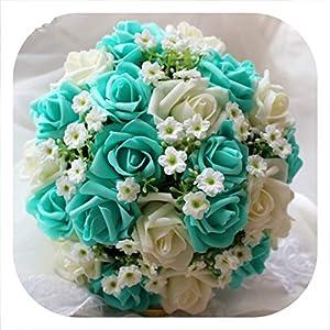 meiguiyuan Blue and White Wedding Bouquet Handmade Artificial Flower Rose buque Bridal Bouquet for Wedding Decoration 16