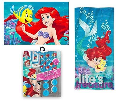 Disney Marvel New Shower Curtain & Hooks & Bath Towel & Memory Foam Mat Set (Ariel, 15pcs Set)