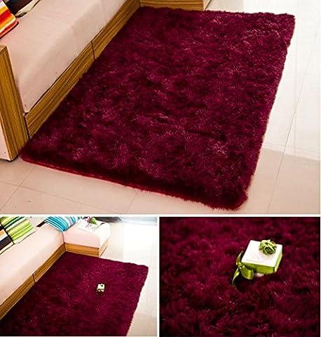 HUAHOO Super Soft Indoor Modern Shag Area Silky Rugs Dining Room Living room Bedroom Rug Baby Nursery Rug Childrens Kids Room Rug Carpet Floor Mat for Home Decorate (5' x 8.2', - Red Shag Carpet