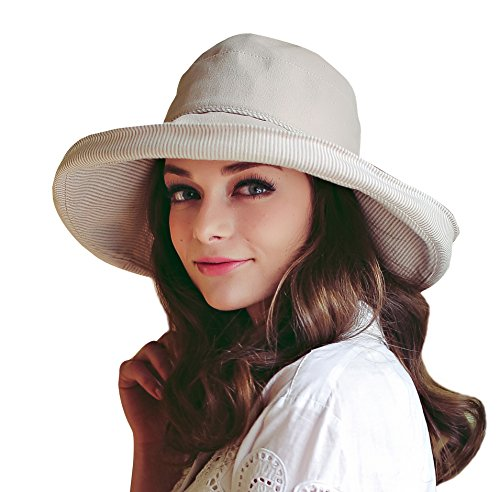 Price comparison product image Home Prefer Women's Cotton Essential Summer Hat Fold Up Wide Brim Sun Bucket Hat UPF50+ Fishing Hat Beach Sun Hat with Stripes Beige
