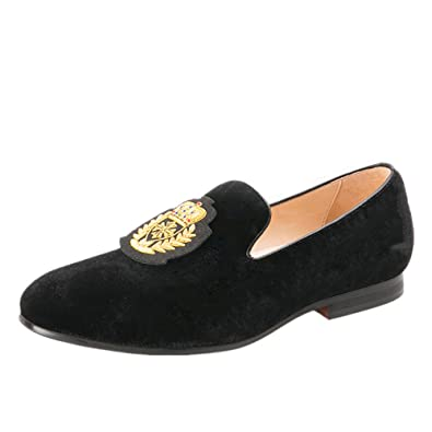 Black Men's Shoes India Handmade Luxurious Embroidery Slip-On Loafer Round Toes Smoking Slipper