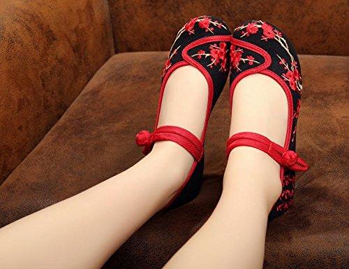 MN Gestickte Schuhe, Leinen, Sehnensohle, ethnischer Stil, weibliche Schuhe, Mode, bequem, Segeltuchschuhe , black , 40