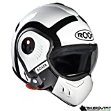 Roof Boxer V8 Bond Flip Front Motorcycle Helmet L White Black by roof