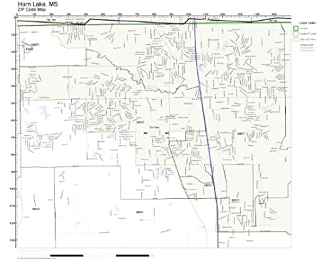 Amazoncom ZIP Code Wall Map of Horn Lake MS ZIP Code Map Not