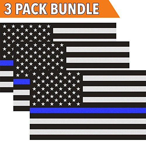 Classic Biker Gear Reflective Thin Blue Line Decal American Flag Decal for Cars and Trucks Support Police and Law Enforcement Officers 3 Pack 3x5 in