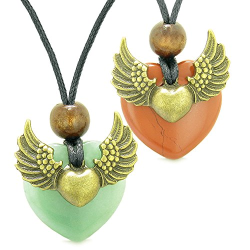 Angel Wings Love Couple Best Friends Heart Yin Yang Amulets Red Jasper and Green Quartz Necklaces