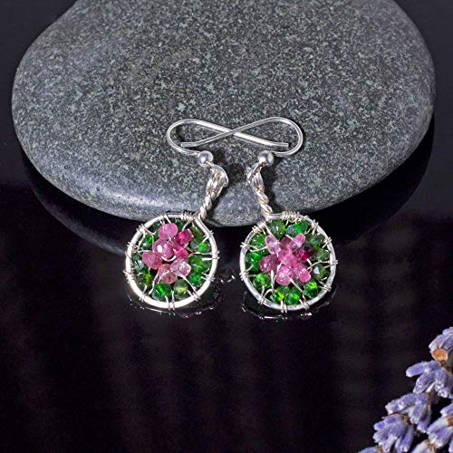 Handmade Watermelon Tourmaline Circle Earrings Sterling Silver Pink Jewelry ()