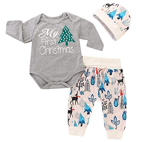 Baby My First Christmas Boy Clothing Long Sleeve Gray Romper and Deer Print Pants Outfits Kid's Hat Suit (Label 70/Age - First Clothes Christmas