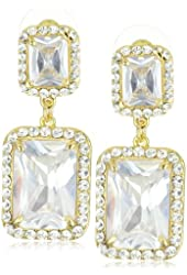 """Leslie Danzis Gold-Tone Modern Square Earrings with Cubic Zirconia 1.5"""""""