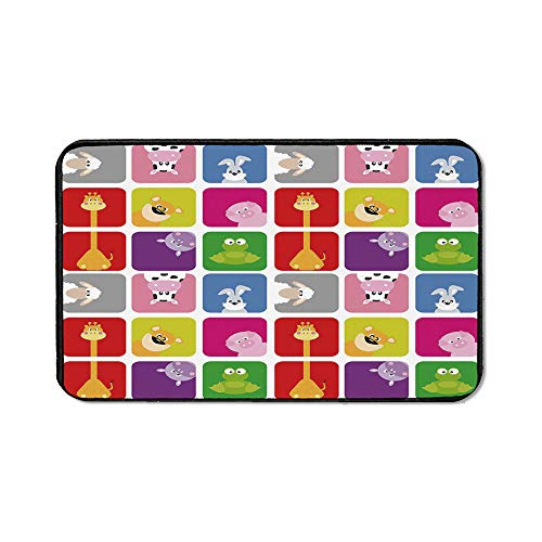 Nursery Office Mouse Pad,Cartoon Animals in Colorful Frames Cute Pig Cow Giraffe Hippo Frog Rabbit Sheep for Office Computer Desk,15.75''Wx23.62''Lx0.12''H