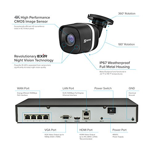 EZVIZ 4K UltraHD 8MP Outdoor IP PoE Surveillance System, 4 Weatherproof UHD EXIR Security Cameras