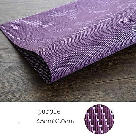 Compra YSSHWX Mantel Individual 2/4/6 Juego de tapetes de Mesa de Cocina Aislamiento Tapete de Mesa de PVC Mantel Individual Mantel Antideslizante 45 * 30 2 Piezas Púrpura en Amazon.es