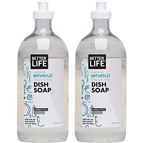 Natural Dish Liquid Soap - Better Life Natural Dish Soap, Unscented, 22 Ounces (Pack of 2)