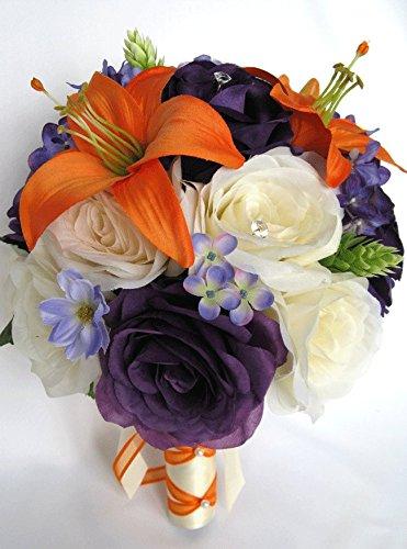 Amazon Com Wedding Bouquets Bridal Silk Flowers Orange Lily