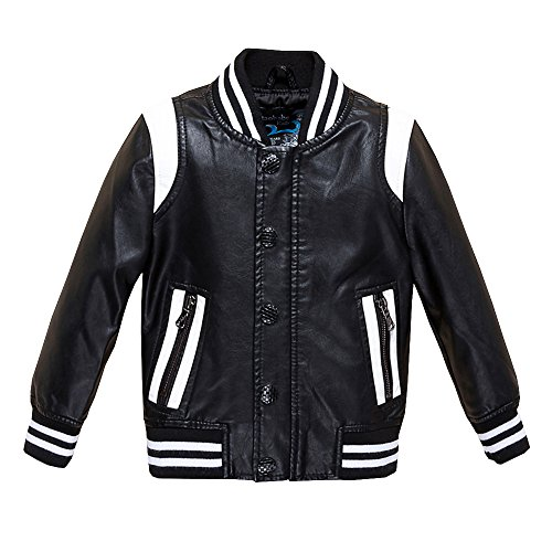 Budermmy Boys Leather Motorcycle Pilot Jackets Toddler Coats Black Size 6 ()