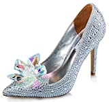 Littleboutique Cinderella Princess Crystal Shoes Glass Flower Wedding Shoes Evening Dress Heels white 9
