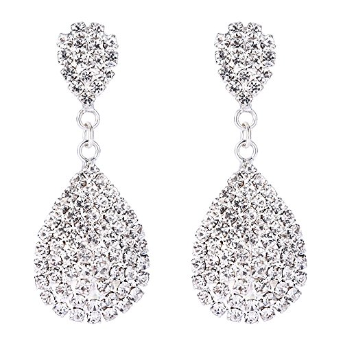 BriLove Women's Wedding Bridal Crystal Infinity Figure 8 Cluster Beads Dangle Earrings Clear Silver-Tone