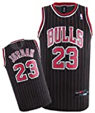 NBA Chicago Bulls Black Red Stripe Jersey, Michael Jordan