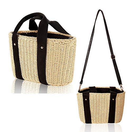 Summer Straw Bag For Women With Pom Poms, Fashion Hand-Woven Handle Bags with Drawstring Inner Porket Women Beach Bag Natural Tote Purse Hobo Handlebag Grass Handbag
