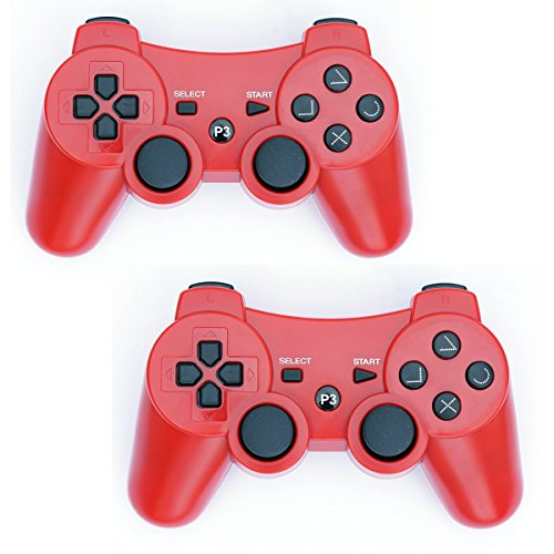 Wireless Ps3 Pad (PS3 Controller Wireless 2 Pcs Double Shock Gamepad for Playstation 3, Sixaxis wireless PS3 Controller (Red x 2))