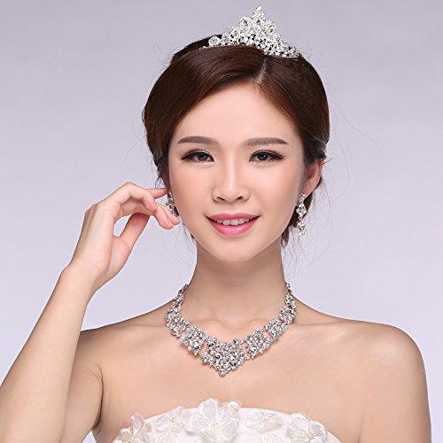 - Generic 2018 married bridal headdress three-piece jewelry accessories yarn hair accessories married crown tiara tiara earring Necklace Set 008