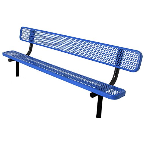8' Bench With Back, Perforated Steel, In Ground, Blue