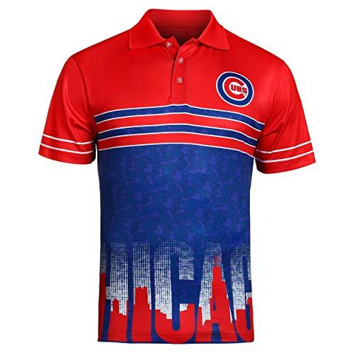 FOCO MLB Chicago Cubs Raglan Poly Polo Skyline -