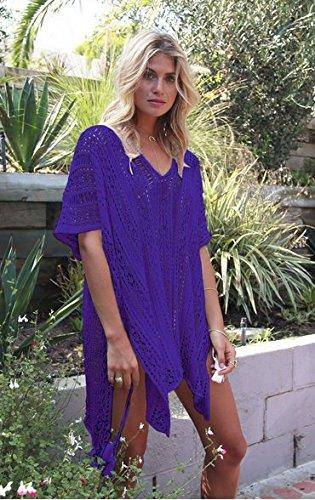 Court Robes Taille Bikini Tops Plage Bain Crochet Maillots Agogo Tricoté violet Unique Net Femmes Été Chemisier Couvrir De wpPxqav0
