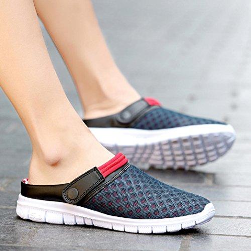 Transer Men Women Summer Sandal Flat Home Slippers- Ladies Mens Breathable Padded Mesh Beach Flip Flops Shoes Dark nIpDnycl