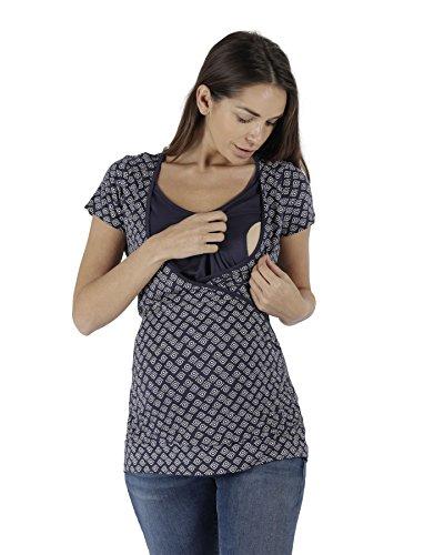 The Essential One Damen Umstandsbademode Geo Stillshirt/Stilltop - Marineblau - EOM224
