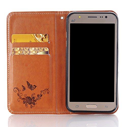 SRY-Funda móvil Samsung Cierre magnético Bookstyle Wallet PU Funda de piel con cordón, Horizontal Flip Stand Funda de la caja con Rose en relieve y ranuras para tarjetas para Samsung Galaxy J2 2016 (  Brown