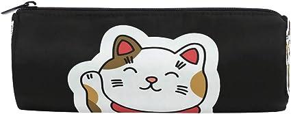 Estuche para lápices de color negro con diseño de gato de peluche para niños, niñas, estudiantes, bolsas, bolsa de maquillaje redonda para la escuela: Amazon.es: Oficina y papelería