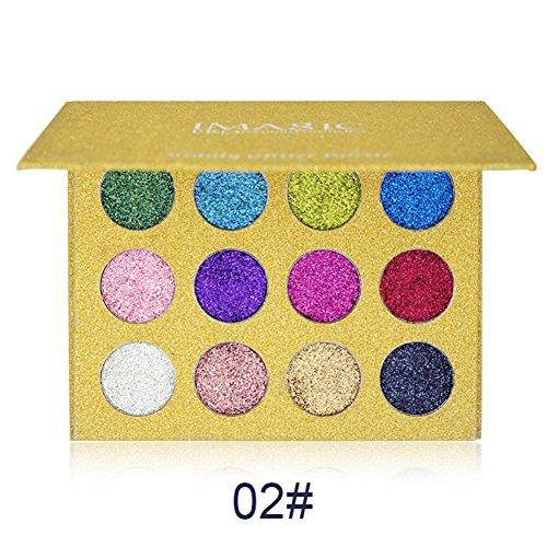 Spdoo 12 Colors Glitter Powder Makeup Palette Professional - Long Lasting&Shimmer Eyeshadow Palette Mineral Pressed Glitter