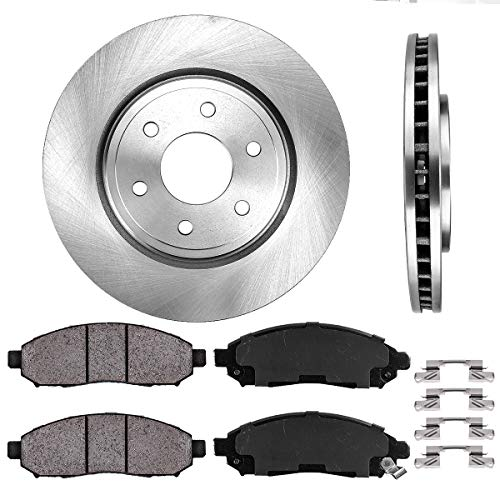 (FRONT 296 mm Premium OE 6 Lug [2] Brake Disc Rotors + [4] Ceramic Brake Pads + Clips)