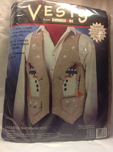 Dimensions Cheerful Snowman Applique Vest Kit - Full Size Pattern to Fit Sizes S M L Xl XXL Easy Iron on Pattern for Motifs Cotton Embroidery Thread Persion Wool Yarn