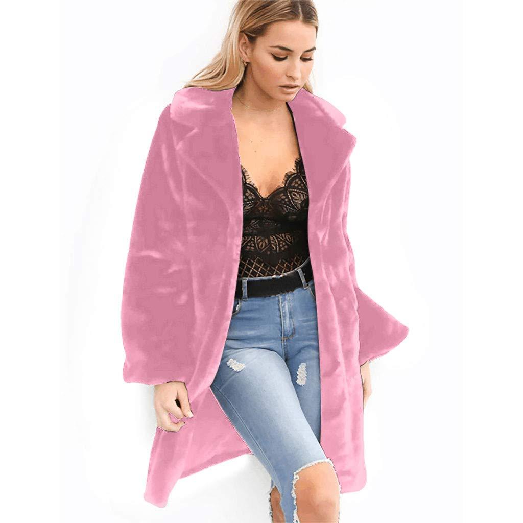 IEason Women Lapel Solid Medium Long Windbreaker Warm Plush Coat Purple by IEason Women Coat