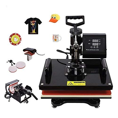 SUNCOO 5 in 1-15x15 Heat Press Machine Professional Digital Transfer Sublimation Hot Pressing Machine- Swing Away,Multifunction T-Shirt/Mug/Hat Plate/Cap Press,Combo Kit