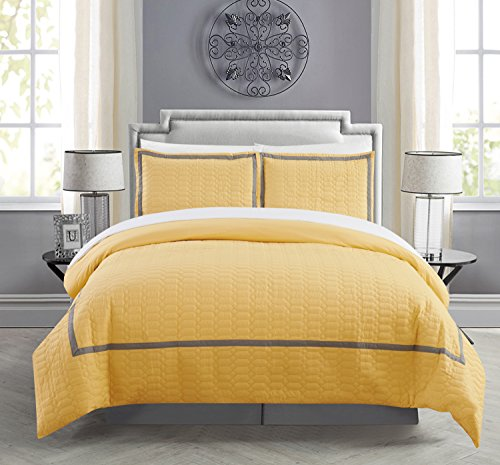 Ensemble Quilt Sham Decorative Pillow (Chic Home Faige 5 Piece Duvet Cover Set Hotel Collection Two Tone Banded Print Zipper Closure Bed in a Bag Bedding - Sheets Decorative Pillow Sham Included, Twin Yellow)