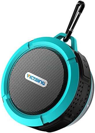 VicTsing Shower Speaker, Wireless Waterproof Speaker with 5W Driver, Suction Cup, Buit-in Mic, Hands-Free Speakerphone-Blue