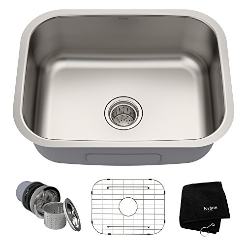 Kraus KBU12 23 inch Undermount Single Bowl 16 gauge Stainless Steel Kitchen Sink ()